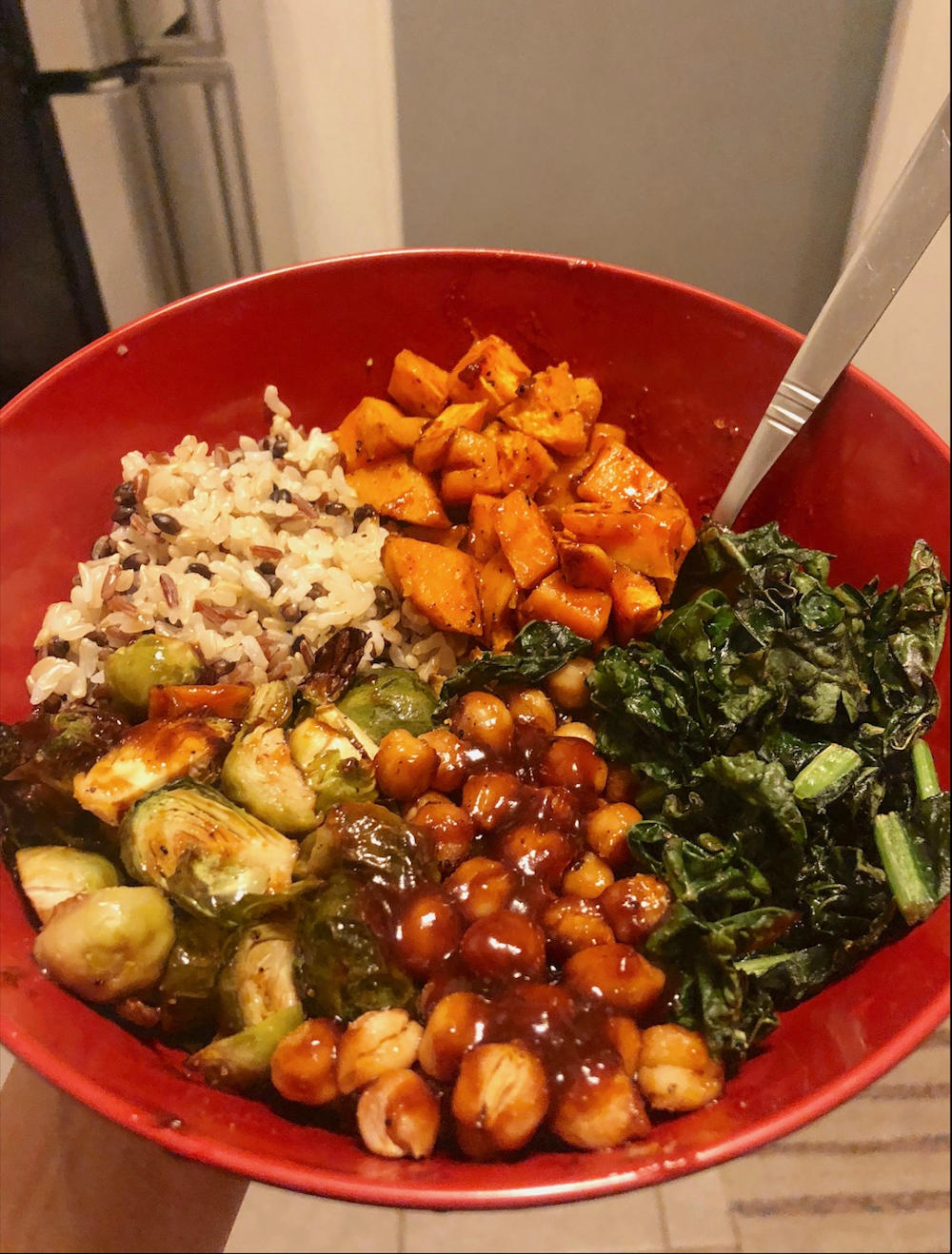 Final Product for Sweet Potato Brussel Sprout Bowls