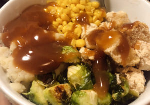 Crispy tofu mashed potato bowls (with vegan brown gravy)