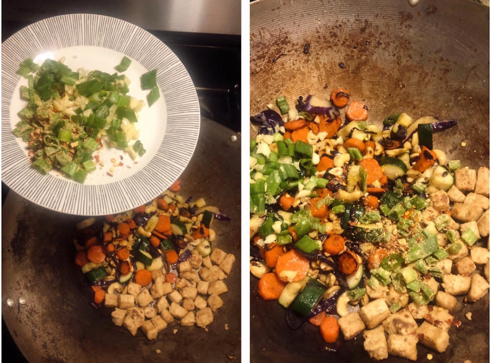 Step 3 for Kung Pow Chicken and veggies