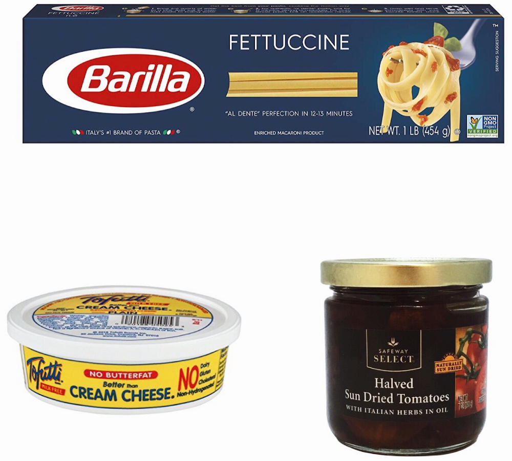 Ingredients for Creamy sun-dried tomato fettuccine