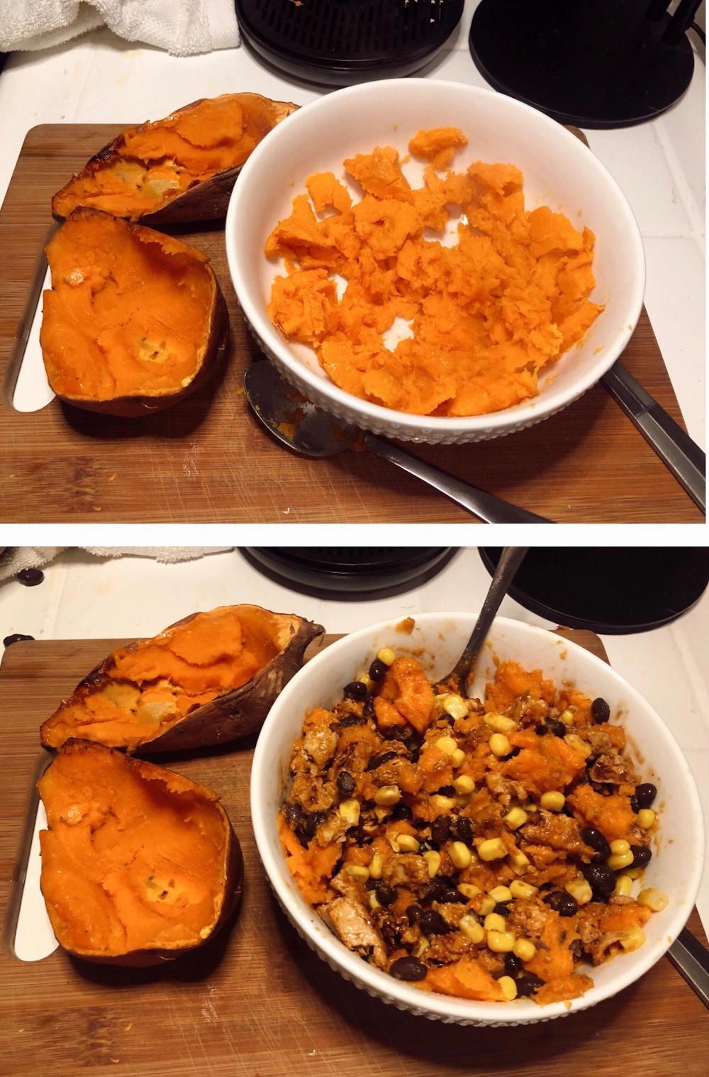 Step 4 for Vegan BBQ Chicken stuffed sweet potatoes