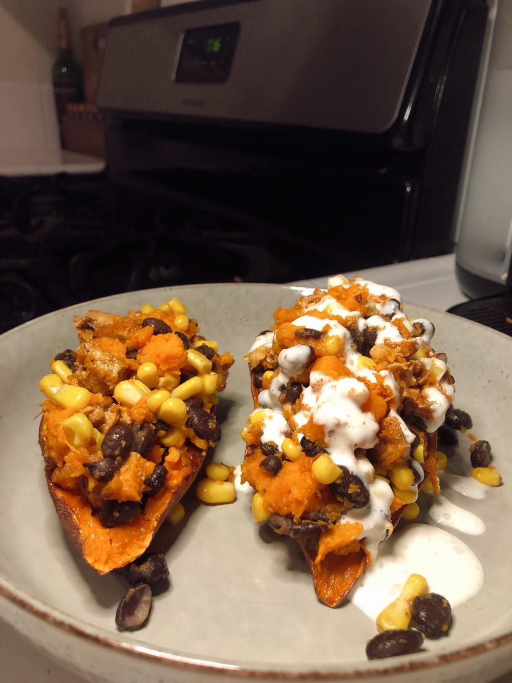 Step 5 for Vegan BBQ Chicken stuffed sweet potatoes
