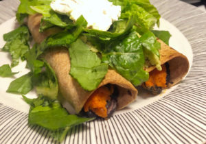 Sweet Potato Black bean Rolled Tacos